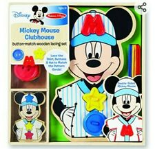 New listing Melissa & Doug Disney Mickey Mouse Wooden Activity Set Lacing, Button Matching