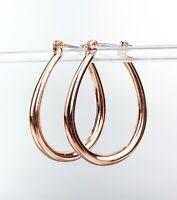NEW GORGEOUS Rose Gold Plated Teardrop Oval Hoop Earrings