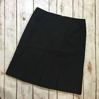 Ann Taylor LOFT Black Pleated A-Line Skirt Knee Length Career Work Womens Size 2
