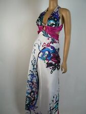 Morgan & Co. White Pink Blue Satin Vneck Open Back Snake Prom Gown 5 6 NEW M381