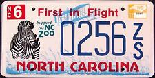 "NORTH CAROLINA "" WILDLIFE ZEBRA - ZOO "" MINT NC Specialty License Plate"