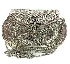 White Metal clutch Vintage clutch  Handmade Brass bag metal purse carving wallet