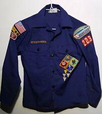 Vintage Boy Cub Scouts Blue Shirt w/ Patches Patch Wolf Bear Bobcat Webelos