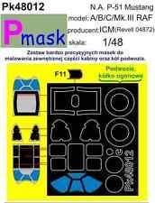 P-51B Mustang (MK. III) REVELL/ICM PITTURA Maschera per ICM kit #48012 1/48 pmask