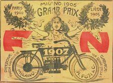 PUBBLICITA' 1907 MOTO FN  DE HERSTAL PRIMA 4 CILINDRI A CARDANO A.FUSI MILANO