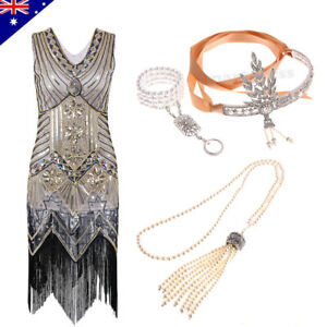 Ladies 1920s Roaring 20s Flapper Gatsby Costume Sequin Fancy Outfit Party Dress