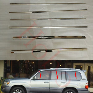 6x Stainless Silvery Left+Right Window Lower Frame Trim For Lexus LX470 1998-07