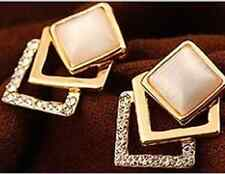Beautiful New Piercing Gold Women's 3 Square Top Ear Opal Earring Jewellery Set