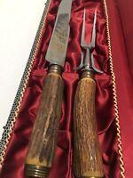 August Kullenberg Solingen Germany Carving Set Elk Stag Knife Fork Set w/ Box