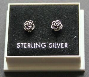 STERLING SILVER 925 STUD EARRINGS  6mm ROSE FLOWER  BUTTERFLY BACKS STUD 76