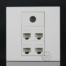 Wall Plate Socket 4 Ports RJ45 CAT5E Network LAN & TV Outlet Panel Faceplate