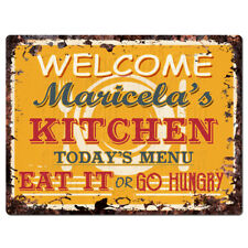 Ppkm0822 Maricela'S Kitchen Rustic Chic Sign Funny Kitchen Decor Birthday Gift