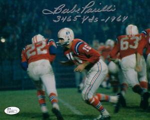 PATRIOTS Babe Parilli signed 8x10 photo w/ 3465 Yds 1964 AUTO JSA COA Autograph