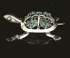 SILVER PLATED TORTOISE FIGURINE/ORNAMENT STUDDED W/ SWAROVSKI CRYSTAL ELEMENT
