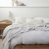 Natural Bamboo Egyptian Cotton 400TC Thread Count Quilt Duvet Cover Set Silver
