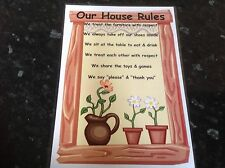 primary educational resource OUR HOUSE RULES X 2 POSTERS childminder