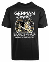 German Shepherd New Mens Shirt Unconditional Love Ferocious Loyalty Infinite Tee