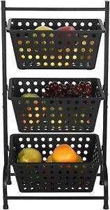 3 Tier Fruit Basket Vegetable Snack Produce Storage Shelf Kitchen Storage Cart