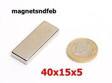 Blockmagnet Neodym-Magnete 40x15x5 Quader