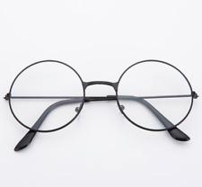 Women Men Clear Lens Round Circle Eye Glasses Large Oversized Metal Frame Nerd