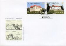 Slovenia 2017 FDC Castles Europa Reichenburg Sevnica Castle 2v Set Cover Stamps