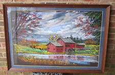 Colorful Well Done AMERICANA PASTEL Drawing WATERMILL Signed D.MILLER Large!!