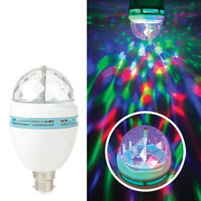 LED BC Disco Light Bulb Rotating Crystal Effect Multi Coloured Stage Lighting
