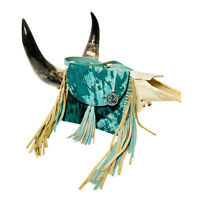 Raviani Crossbody Bag With Fringe In Turquoise Hair On Leather MADE IN USA
