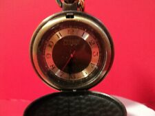 RELIC BRONZE TONE FACE AND CASE pocket watch new battery installed/w chain