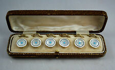 Fine Antique 18ct Gold Rim Art Deco Mother Of Pearl & Turquoise Button Set