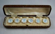 Fine Antique 18ct Gold Rim Art Deco Mother Of Pearl & Turquoise Button Set