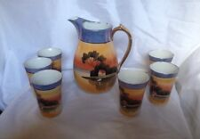 """Vtg House 8 1/2"""" Pitcher 6 matching Cups Glasses 4 1/4""""Made Japan Unique (27X7)"""