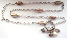Stunning 925 Silver Ti Sento CZ Clear Orange Heavy Beads Chain Necklace Vintage