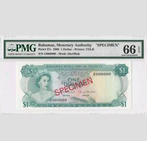 "1968 Bahamas 1 Dollar PMG66 EPQ <P-27s>  ""SPECIMEN"""