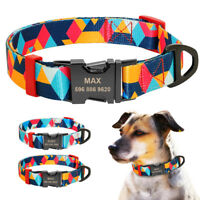 Nylon Print Personalized Dog Collar Engraved Name Puppy Dog Collar Custom