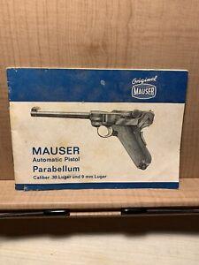 Mauser 9mm Lugar Pistol Factory Instruction Manual w/Target, 1970's Original