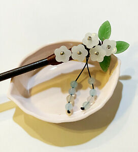 1 Pc Pink Plum Flower With Green Jade Leaves Hairstick Hair Stick