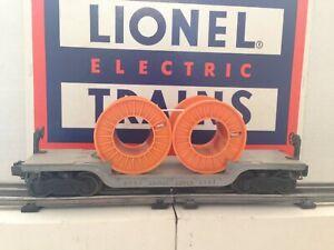 Lionel 6561 Postwar Gray Depressed Flat car With Orange Spools