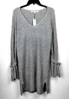 Cupcakes and Cashmere Women's Small V-Neck Sweater Dress Heather Grey Jennibelle