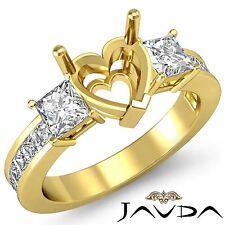 Three Stone Diamond Wedding Ring 18k Yellow Gold Princess Heart Semi Mount 1.1Ct