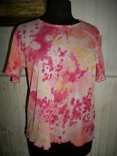 Chemisier tee shirt top rose voile leger LEWINGER T.4 40/42 L manches courtes