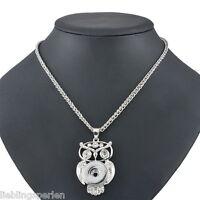5 Halskette Halsschmuck für Klick Click Buttons Strass Eule Anhänger 58cm L/P