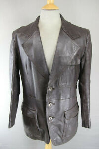 CLASSIC VINTAGE 1970s DARK BROWN LEATHER JACKET 40 INCH