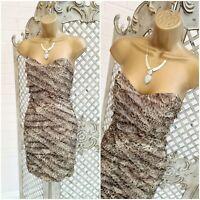 RIVER ISLAND UK 8 Silk Animal Leopard Print Frayed Layered Strapless Mini Dress