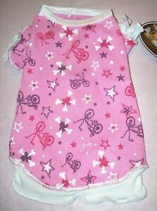 NEW Size Large Pink Bicycle Ruffled Seeveless Tank Shirt Top Dog Pet Clothes