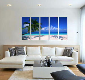 Tropical Palm Tree Blue Ocean Photo Canvas Prints Large Wall Art 5 Panel Framed