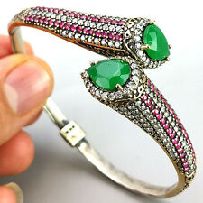 D135 1 Giy-Style Echt 925 er Silber Armband Armspange Rubin, Smaragd Antik Stil