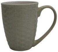 Set of 4 New Bone China Large Rattan Style Coffee Mugs Cream 340ml Capacity