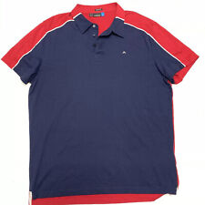 J Lindeberg Mens Polo Shirt Charlie Regular Lux Jersey Xl Blue Red