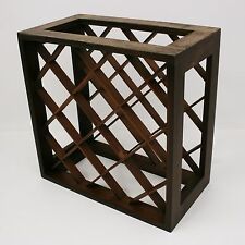 Vtg Vermillion Solid Walnut Wood 12 Bottle Wine Rack Wall Mount/Countertop Crate